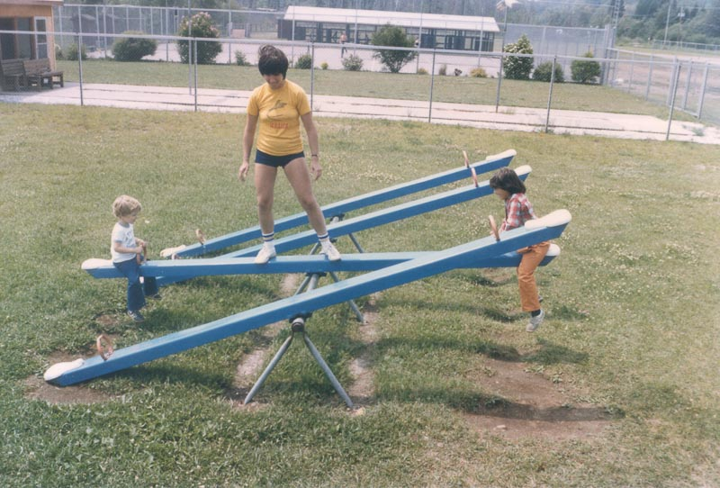 Mom would even find a way to make the teeter-totter fair.