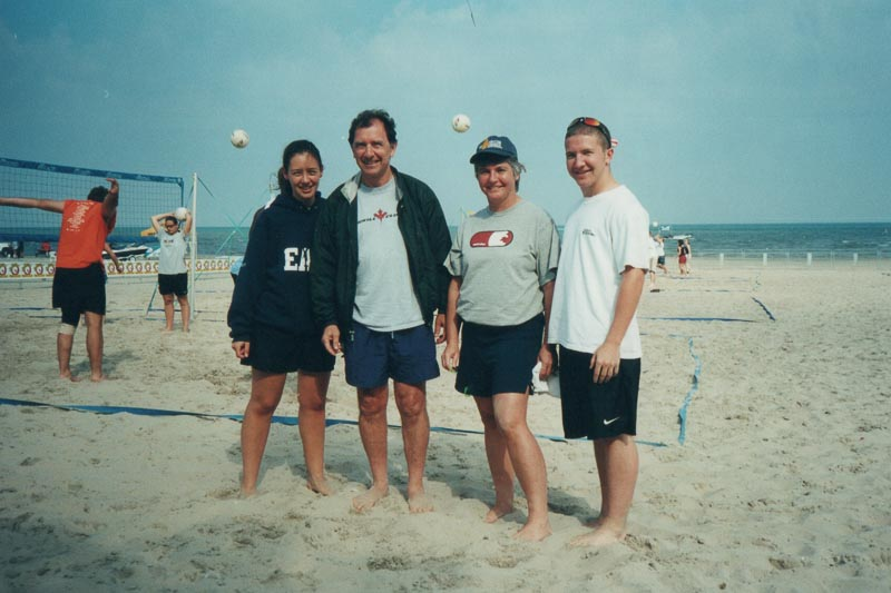 Volleyball is the family sport. Although none of us are tall, we often won, surprising our taller opponents.